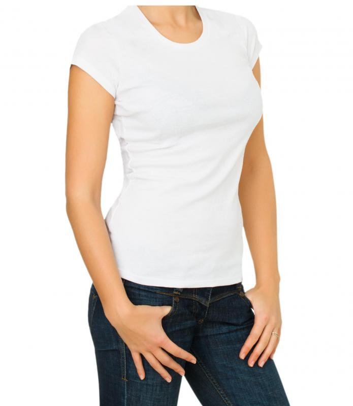 A crew neck t-shirt on a woman.