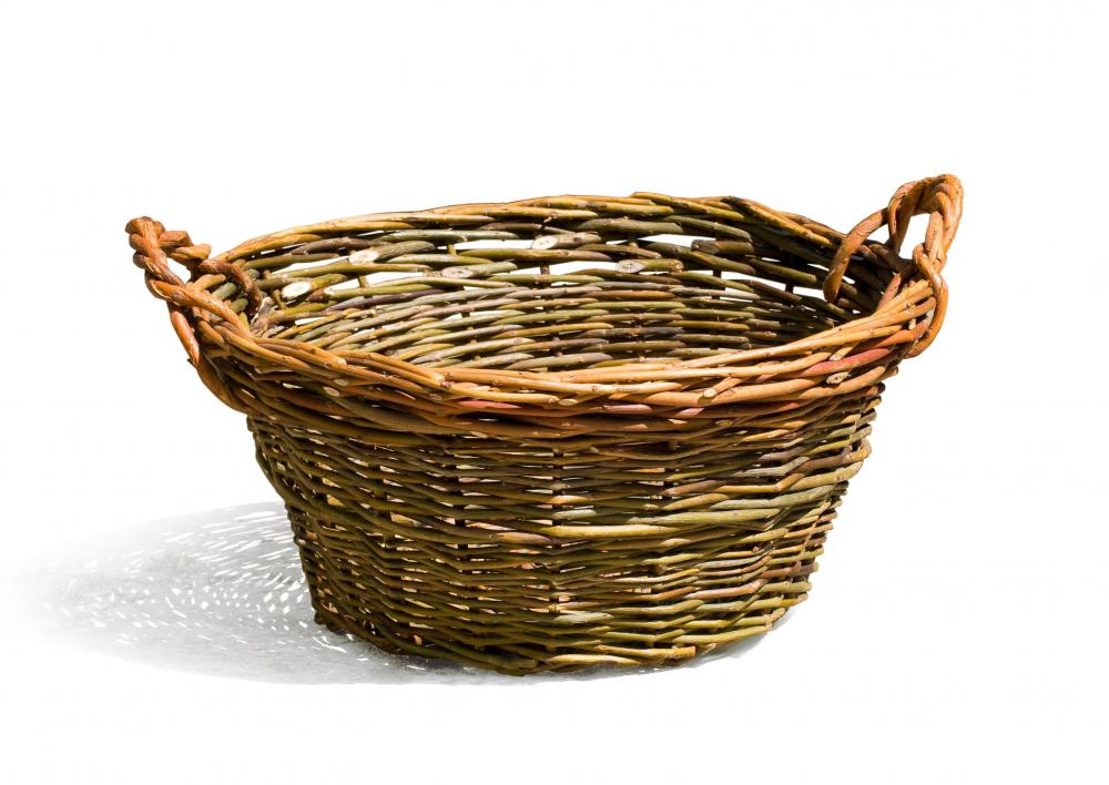 A laundry basket made using the wicker process.