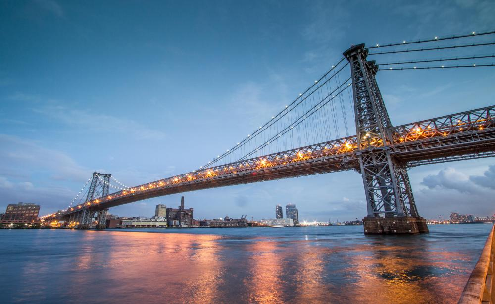 New York City's Williamsburg Bridge is an example of a suspension bridge.
