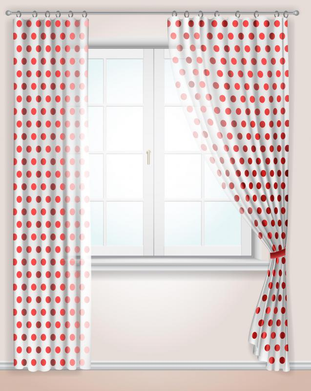 Fabric that is durable, easy to clean, and that will not stretch from hanging is often a good choice for curtains.