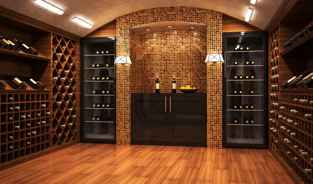 Modular style wine racks may be found in a wine cellar.