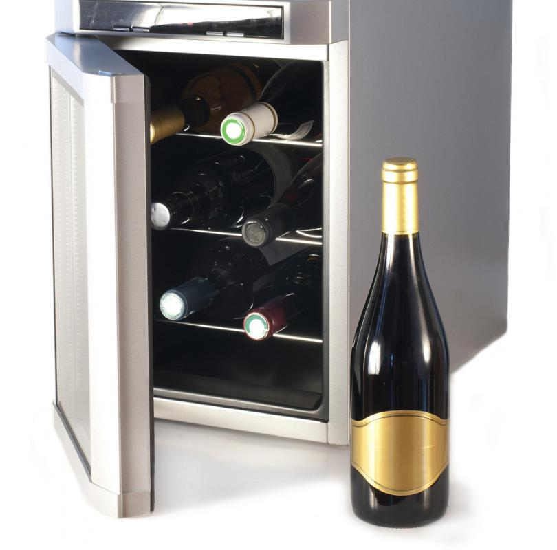 A wine refrigerator keeps wine at an ideal temperature.