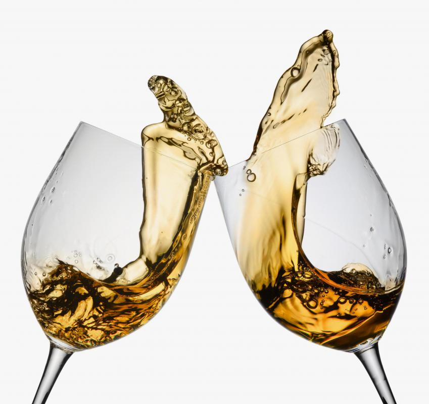 A thin, inexpensive wine glass may break when used for toasting.