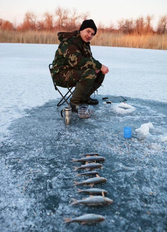 Drilling a hole in ice or removing ice from a hole can be done with a fishing augur.