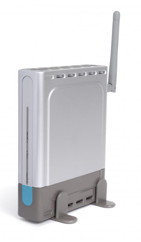 Wireless router with antenna.