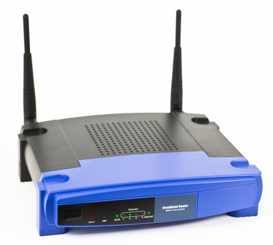 Wireless router with two antennas. Some WiFi routers do not have any visible antennas.