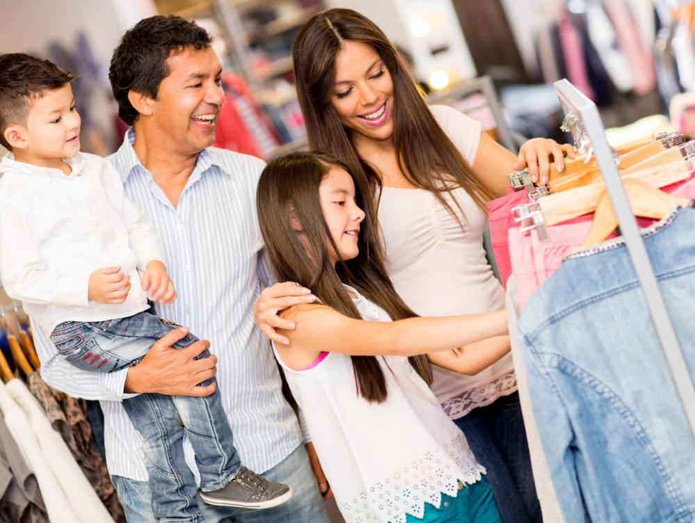 Discount stores may carry a wide range of clothing and other goods.