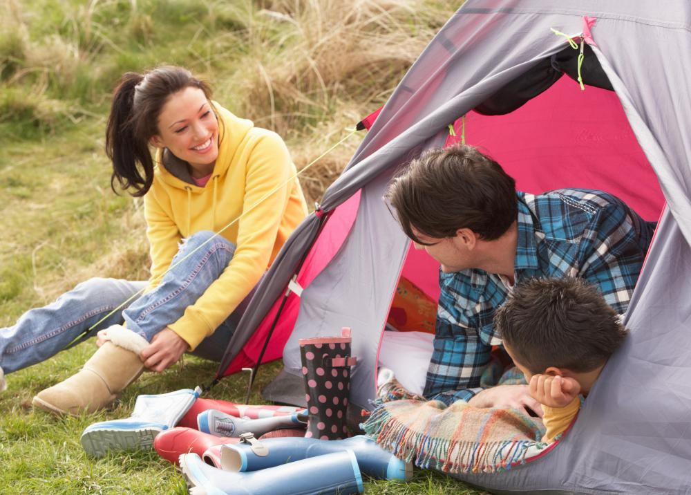 Travelling with kids may include camping out.