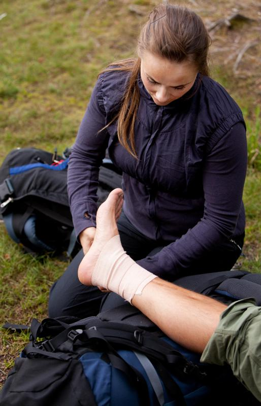 Elastic bandages are often used for compression in order to reduce the inflammation of a sprain.