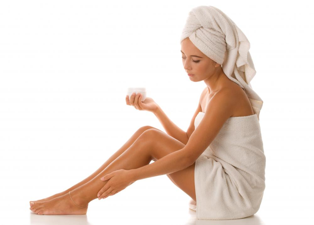 Body lotion is convenient to apply after a shower.