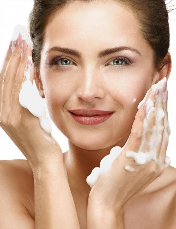 Specially formulated facial wash containing benzoyl peroxide is used to reduce acne breakouts.