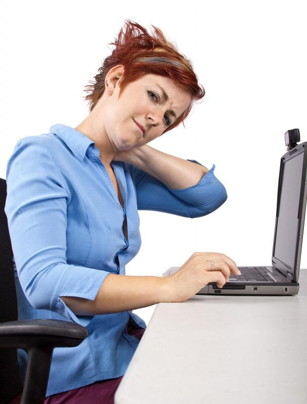 Office workers often suffer neck strain due to poor posture and long hours spent in front of a computer screen.