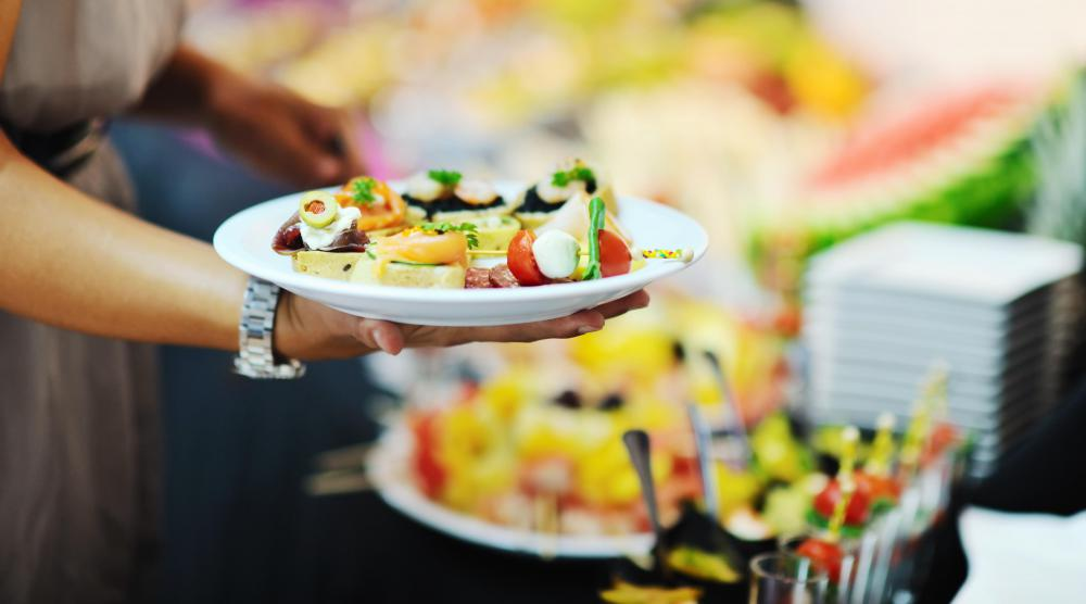 Some restaurant buffets feature healthy choices, such as a salad bar stocked with fresh fruit and vegetables.