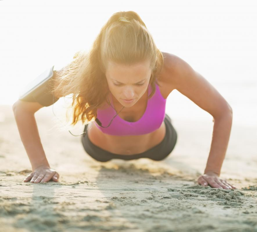 Push-ups are an easy chest exercise that don't require any equipment.