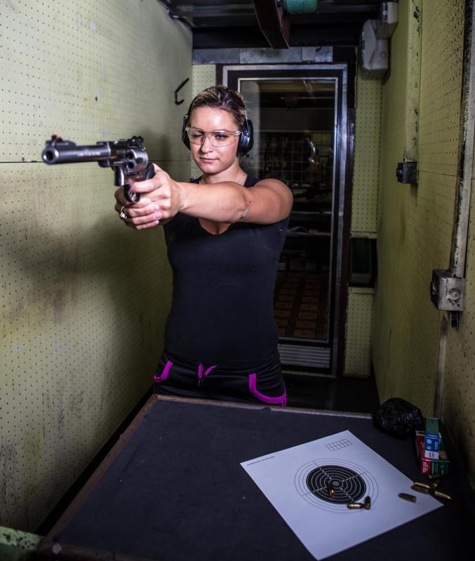 Police officers typically receive training on how to handle and fire hand guns.