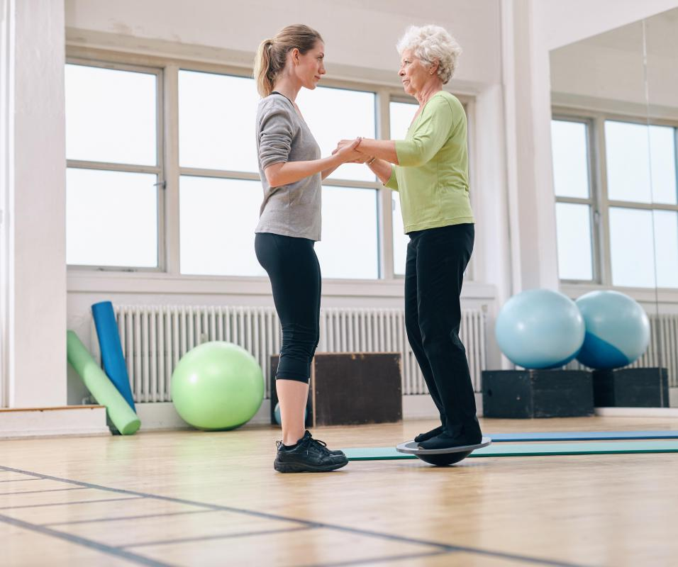 It may be necessary for a patient to re-build her balance skills following a hip injury.