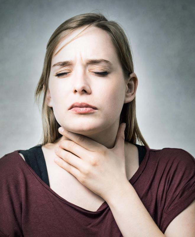 Someone who eats a food she's allergic to can trigger a sore throat.