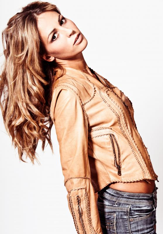 woman in a leather jacket Jayde Herman is a working, professional model/performer/make up artist  a ...