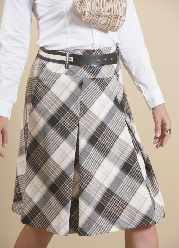 A-line skirts feature a fitted waist and an overall triangular shape.