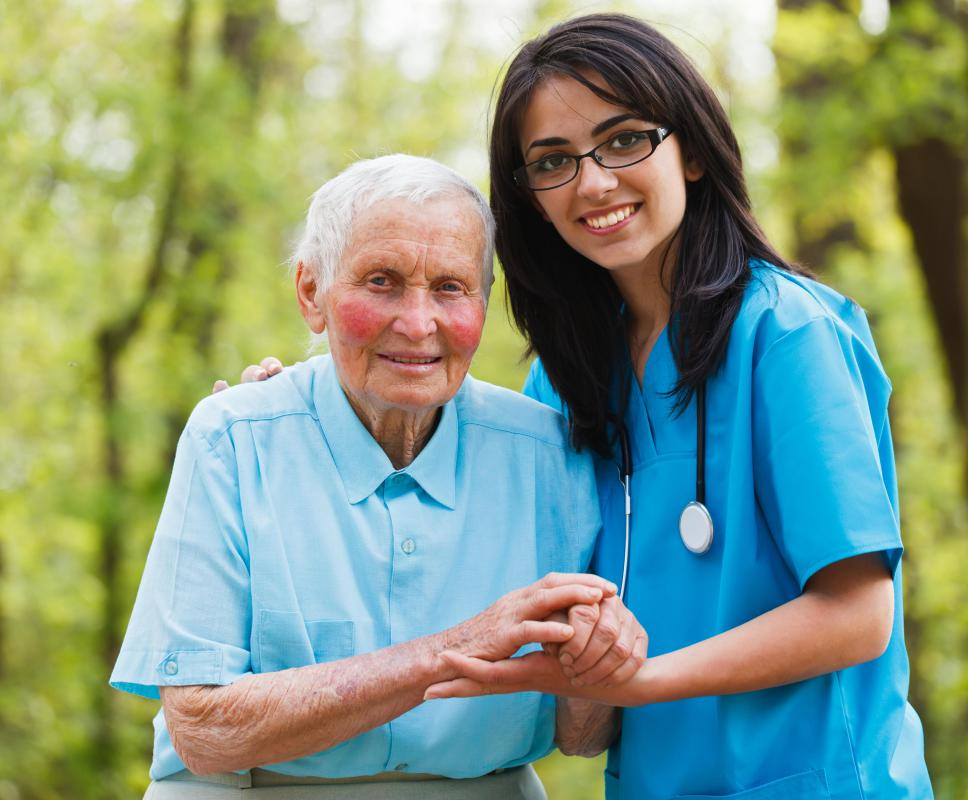 Geriatric nurses work in a retirement home and take care of elderly residents.