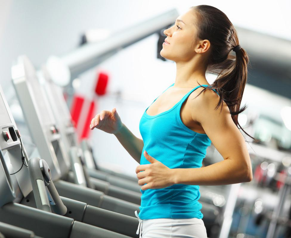 Jogging in place differs from using a treadmill.
