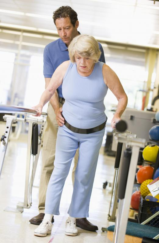 Physical therapy assistants supervise patients as they perform therapeutic exercises.