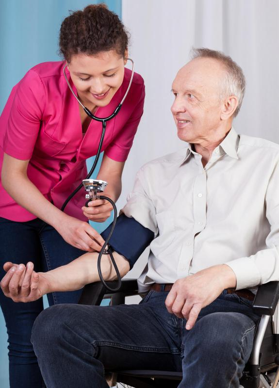 A blood pressure cuff may be applied to monitor a patient's blood pressure if blood pressure is a subject of concern.