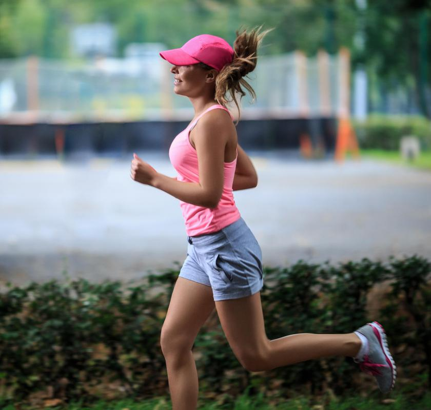 Jogging is a cardiovascular activity that may be part of a workout routine.