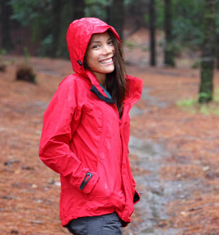Protective rain gear helps keep people dry in rainy weather.