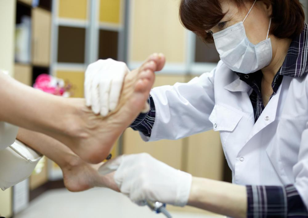 During a diabetic foot exam, the doctor will examine the foot skin temperature and color.