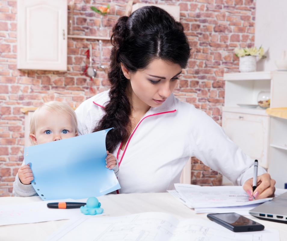 A mom who works from home may arrange her tasks around her child's nap or activity schedule.