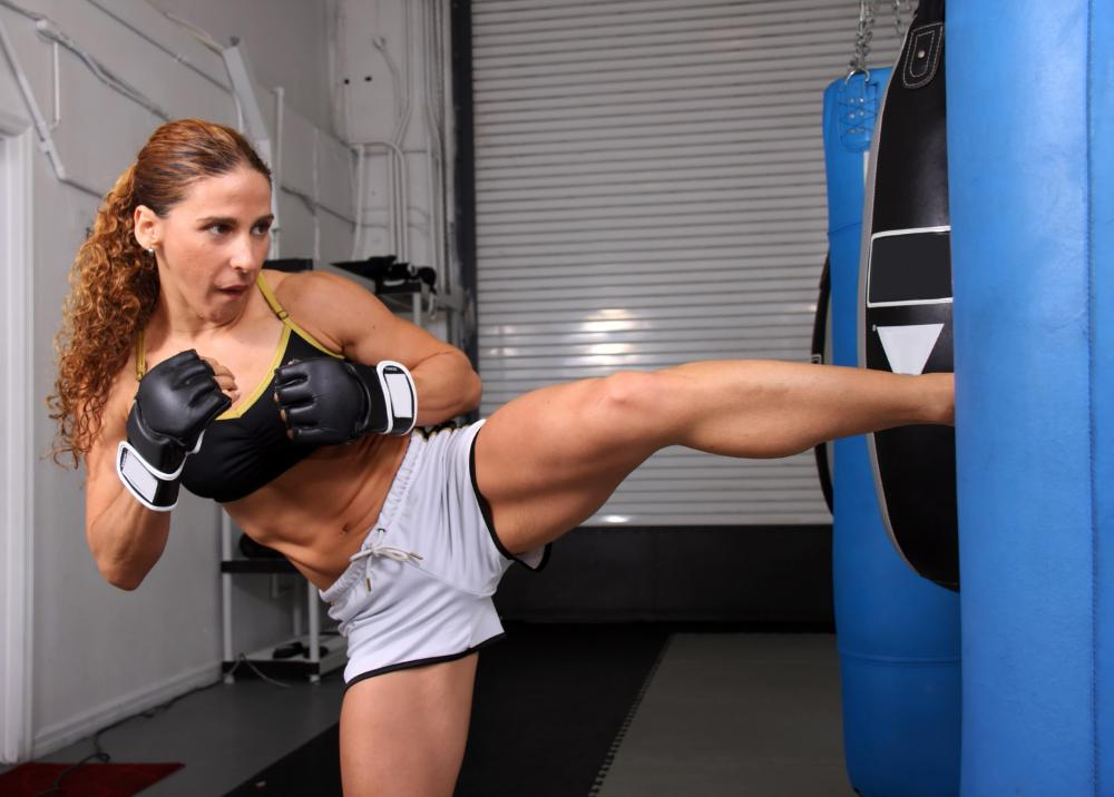 One version of kickboxing combines karate kicks with boxing punches.