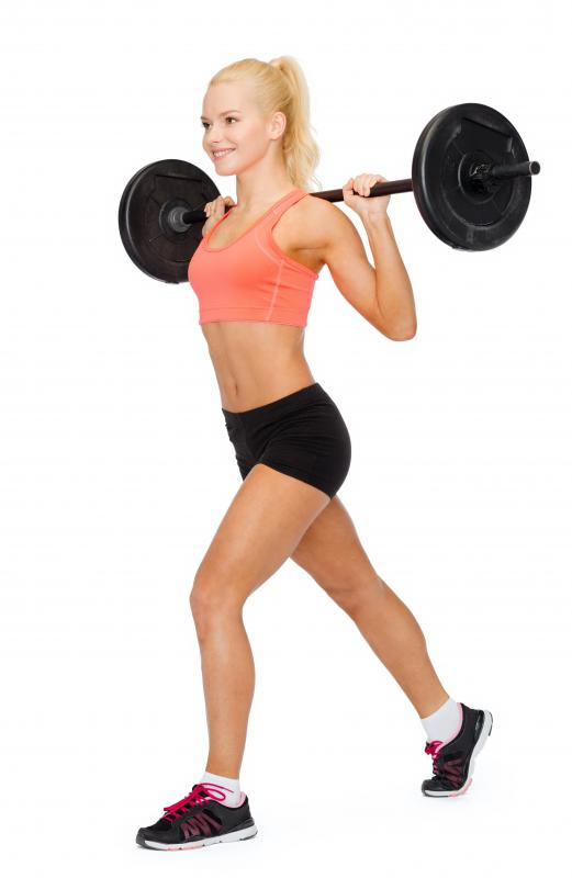 Barbell lunges work several lower-body muscles while adding extra resistance.