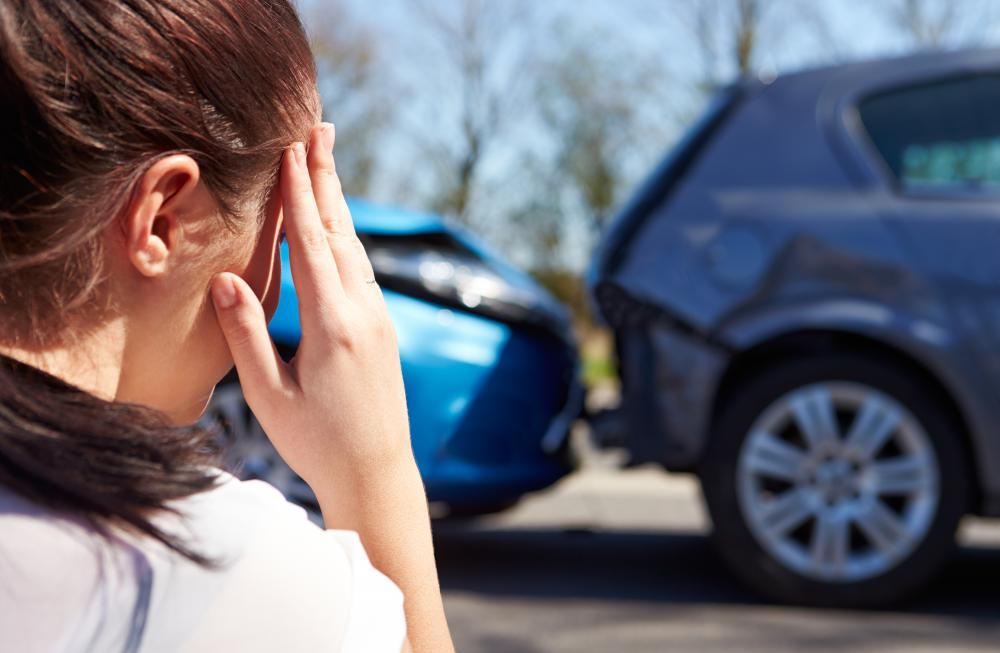 Whiplash can occur when a person is in a car accident.