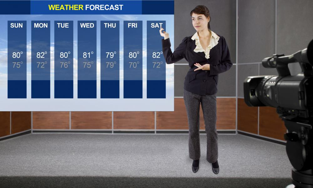 A TV news anchor provides transition into live reports from other parts of the broadcast, such as weather.