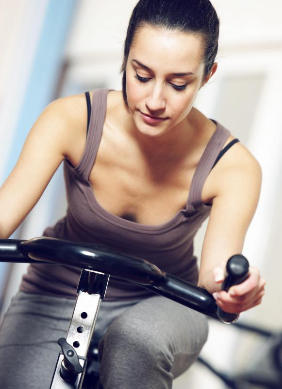 During a stress test, patients are given a minute dose of thallium while exercising on a stationary bike or treadmill.