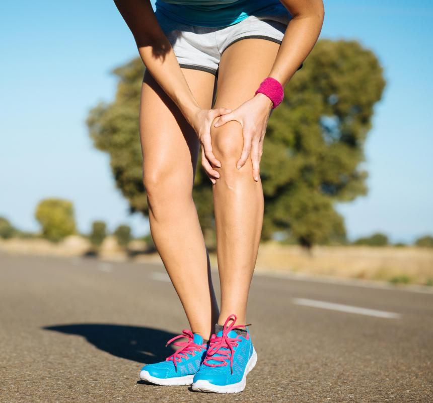 The chief symptom of infrapatellar bursitis is pain that strikes the front of the knee.