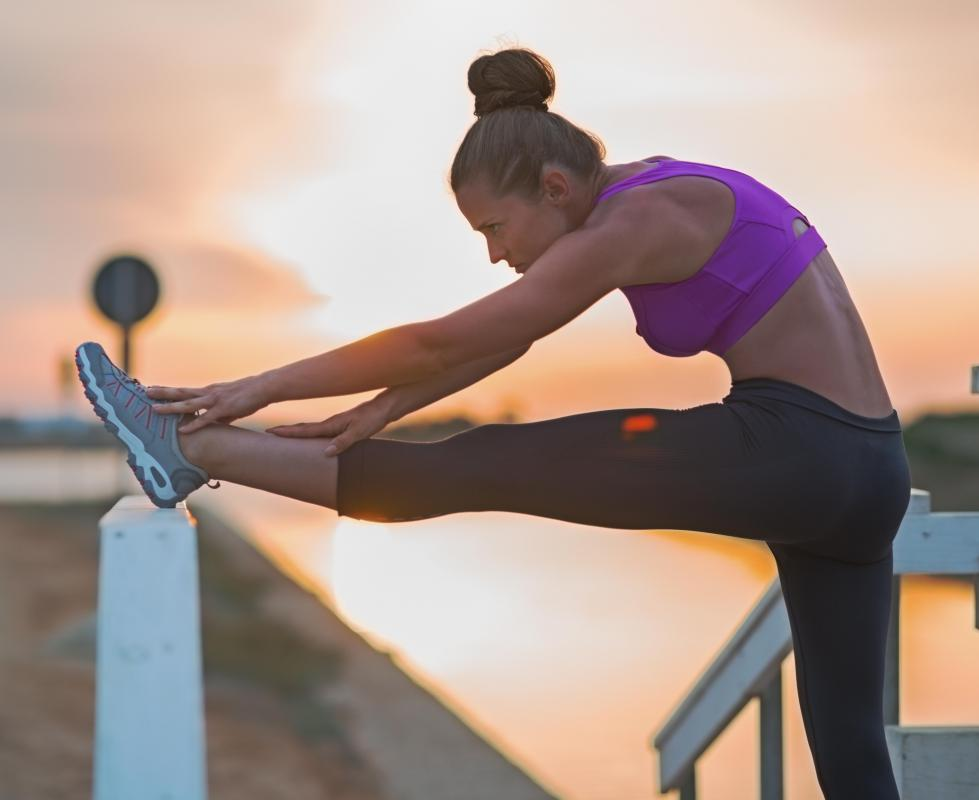 Runners and joggers should gently and slowly stretch the leg muscles before exercising.