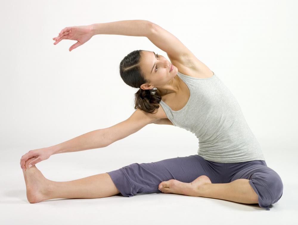 Woman stretching her sides.