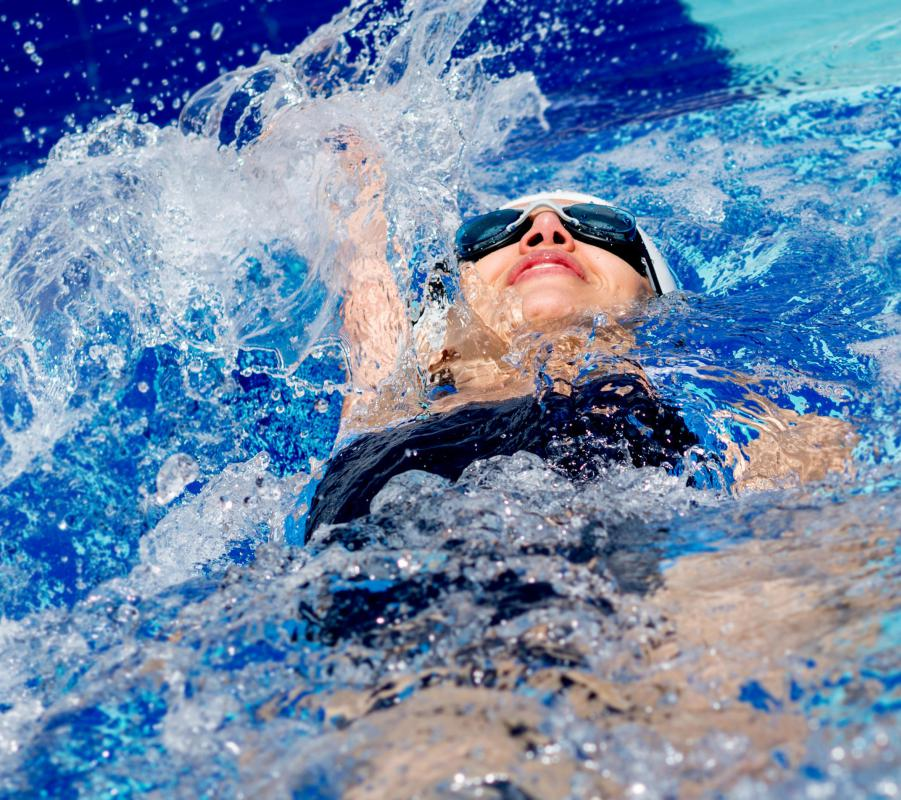 The backstroke is one of the four basic swimming strokes that's taught.