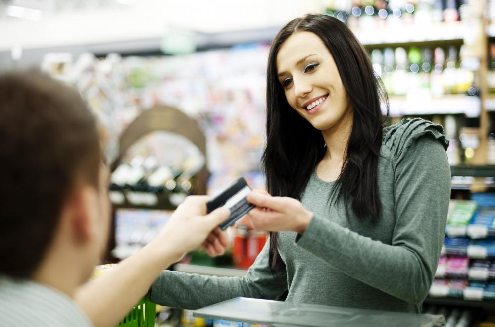 Credit card processing between a business and customer is handled by a credit card merchant.