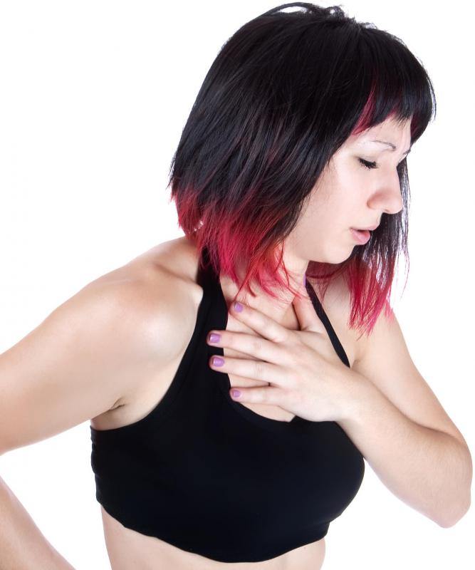 A torn pectoral muscle may cause sharp chest pain.