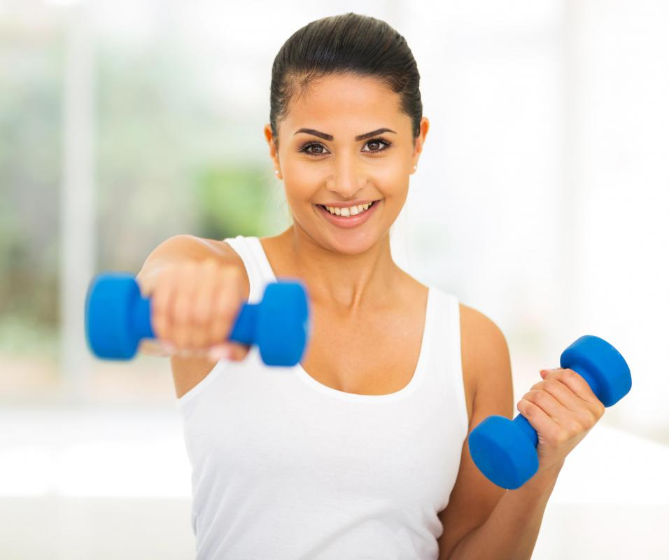 Free weights can easily be used at home for various exercise regimens.