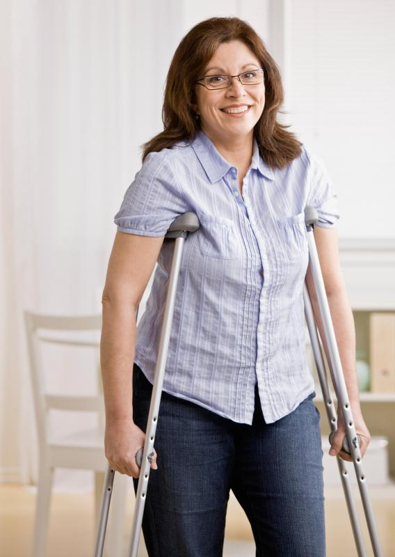 Using crutches can help avoid putting weight on the injured ankle while it heals from a ligament strain.