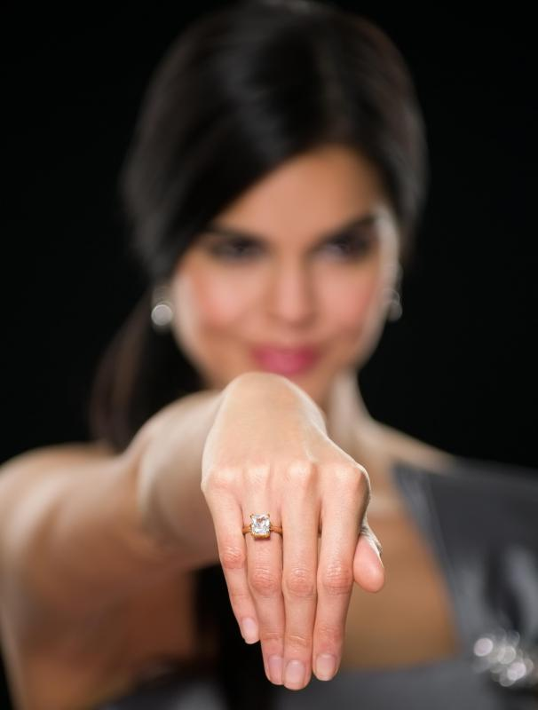 Many engagement rings feature a diamond.
