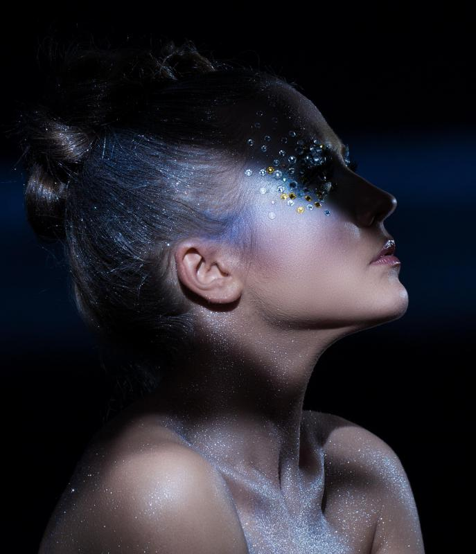 Glitter can be added to liquid latex for movie or stage makeup.