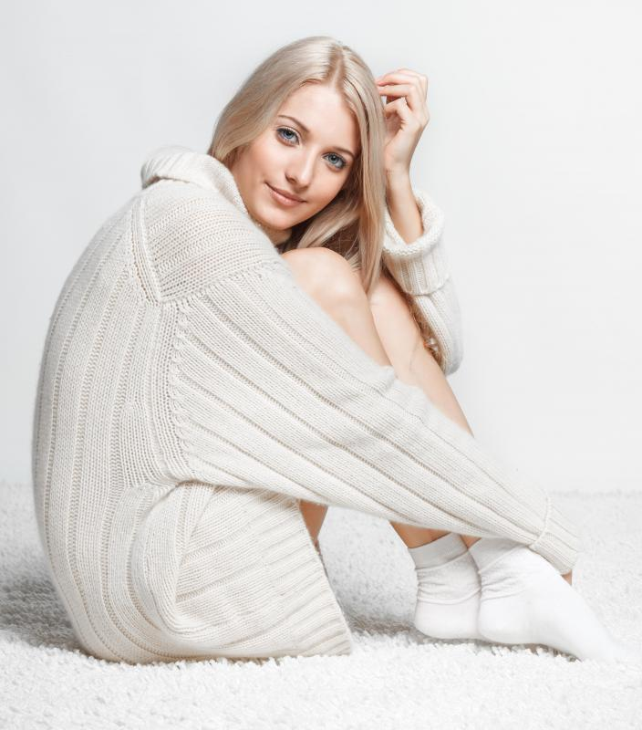 The typical sweater dress looks like a longer version of a pullover sweater.