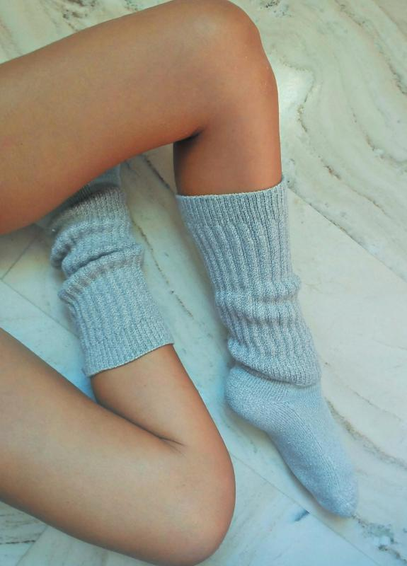 Wool knee-high socks can help keep the feet and ankles warm.