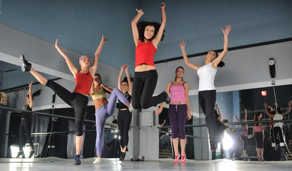Hip-hop aerobics may use dance moves as exercises.