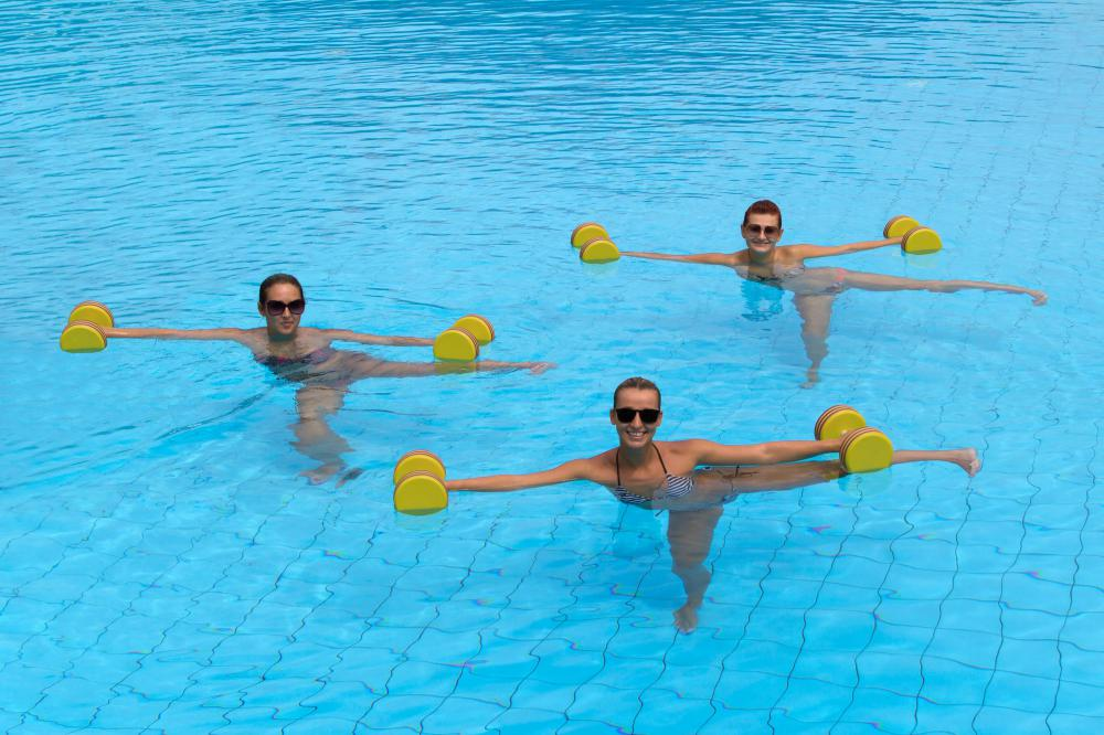 Pilates-style exercises can be done in a pool.